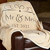 Soft Sentiments Outrageously Soft Reversible Velvet Ultra Plush Throw - 50 x 60 Inch - Mr & Mrs 2021