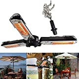 WANG XIAO Infrared Patio Heater - Electric Patio Heater - Outdoor Heater - 1500W - Use with Hanging Chain - Mount to Ceiling/Umbrella for Protection Gardens and Commercial Use,Black-100~120V(1500W)