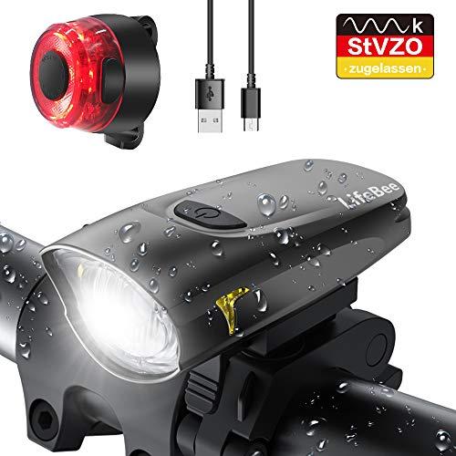 LIFEBEE LED Fahrradlicht, StVZO Zugelassen USB Wiederaufladbare Fahrradbeleuchtung Fahrradlicht Vorne Rücklicht Set, Wasserdicht Fahrradlichter Set Fahrrad Licht Fahrradlampe mit 2 Licht-Modi