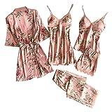 Luckycat Conjunto de 5piezas Pijamas de Encaje Bodysuit Atractivo Ropa Lencera Halter Pijama Encaje...