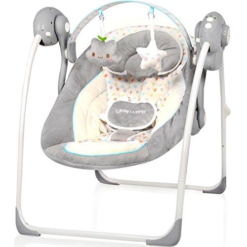 Babyschaukel (vollautomatisch 230V) mit 8 Melodien und 5 Schaukelgeschwindigkeiten (DOTS)