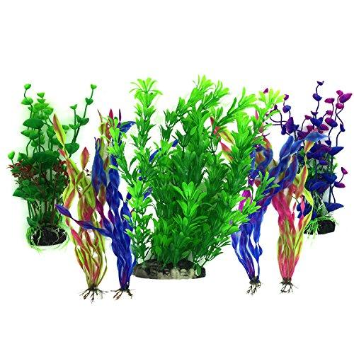 Plantas acuáticas artificiales, PietyPet 7 piezas Plantas grandes de...