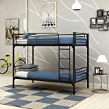 JURMERRY Bunk Bed Metal Frame Twin Over Twin with Slat & Ladder Heavy Duty Steel Bed Frame( Black)