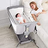 CRZDEAL Bassinet for Babies Large Volume and Mobile with Storage Basket Bedside Sleepers for Baby/Infants/Baby Girl/Baby Boy to Reduce Mom's Fatigue