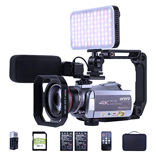 4K 30fps Video Camera Camcorder ORDRO Ultra HD Vlog Camera IR Night Vision Recorder WiFi...