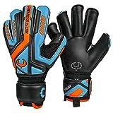 Renegade GK Talon Cyclone 2 Goalie Gloves with Pro-Tek Fingersaves | 4mm Hyper Grip & Duratek | Black, Orange, Blue Soccer Goalkeeper Gloves (Size 6, Youth, Kids, Roll Cut, Level 2)