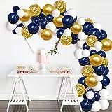 Ballon Or Bleu, 120 pcs Arche Ballons Blanc Confettis Or pour Mariage,...