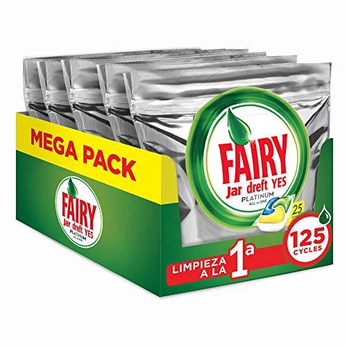 Fairy Platinum All in One, Pastillas Lavavajillas, 125 cápsulas (5 x 25), Mega Pack