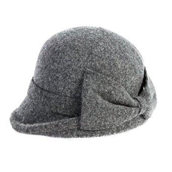 Comhats Womens Vintage Wool Felt Cloche Bucket Bowler Hat Winter Foldable Warm Grey