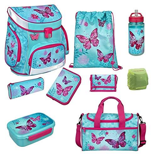 Familando Scooli Butterfly Schulranzen-Set 9tlg. Campus FIT mit Sporttasche Schmetterling und Blumen türkis BUTE8254 Mädchen Schultaschen-Set