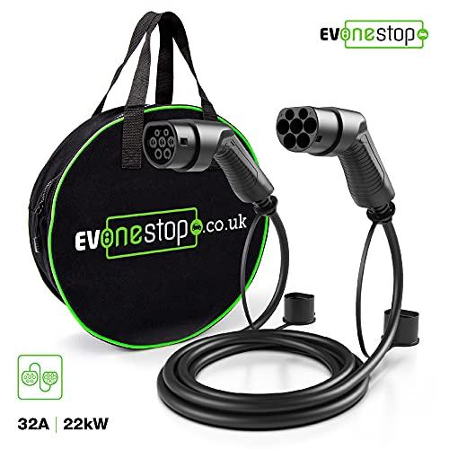 EV OneStop - Cable de Carga para coches eléctricos de Tipo 2 a Tipo 2, 32 A (22 KW) | 3 Fases | 5 Metros | Funda de Transporte Gratis