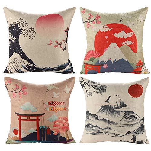 JOTOM Fodera per Cuscino Giapponese Mt. Fuji Ukiyo-e in Cotone e Lino Federa per Divano Famiglia...