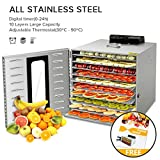 Commercial Stainless Steel Food Dehydrator for Food and Jerky Fruit Dehydrator, Professional Jerky Maker Dryer for Food with Adjustable Time and Temperature Control and 67 Recipes