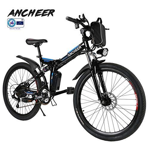 ANCHEER Elektrofahrrad Faltbares Mountainbike, 26 Zoll Reifen Elektrisches Fahrrad Ebike mit 250W bürstenlosem Motor und 36V 8Ah Lithium-Batterie Shimano 21 Gang