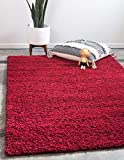 Unique Loom Solo Solid Shag Collection Modern Plush Cherry Red Area Rug (5' 0 x 8' 0)