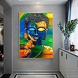 wZUN Budismo Abstracto Carteles e Impresiones Arte Mural Lienzo Pintura Mural decoración Principal Imagen de Buda para la decoración de la Pared de la Sala de Estar 50x70cm