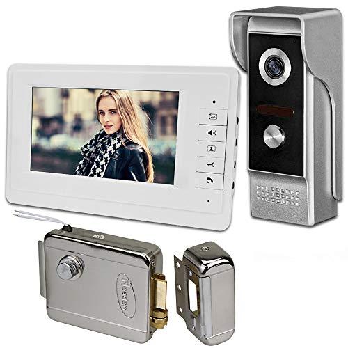 uoweky Video Citofono Campanello 7''TFT LCD Cablato Sistema di Videocitofono per la Casa Monitor Indoor 700TVL Telecamera per Esterni IR Supporto Sbloccare(1 Camera 1 Monitor 1 Lock)