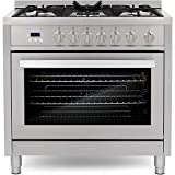 Cosmo COS-965AGFC 36 in. Gas Range with 5 Burner Cooktop, 3.8 cu. ft. Capacity Rapid Convection Oven...