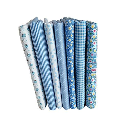 LUFA 7pcs Serie Azul de algodón de Tela de Flores patrón F