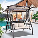 2-Seater Outdoor Swings, Patio Swings Clearance for Porch, Garden, Backyard, Balcony with Adjustable Canopy, Solar Lights, Seat Cushion and 2 Pillows, 2 Foldable Side Table