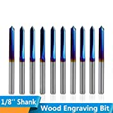 CHENWN 10Pcs 3,175 Mm Shank Nano Blau Beschichtete CNC V-Form-Stich-Bit 2 Flöte Gerade V Bit Für Laubholz 90 Grad,90D*0.1
