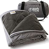 Brawntide Large Outdoor Waterproof Blanket - Great Beach Blanket, Stadium Blanket, Camping Blanket, Extra Thick Fleece, Warm, Sandproof, Ideal for Sunbathing, Yoga, Parks, Picnics, Cats, Dogs (Gray)