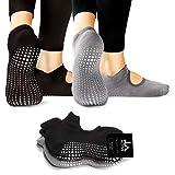 LA Active Calcetines Antideslizantes - Para Yoga Pilates Ballet Barre Mujer Hombre - Ballet (Gris y Negro, 37-40 EU)