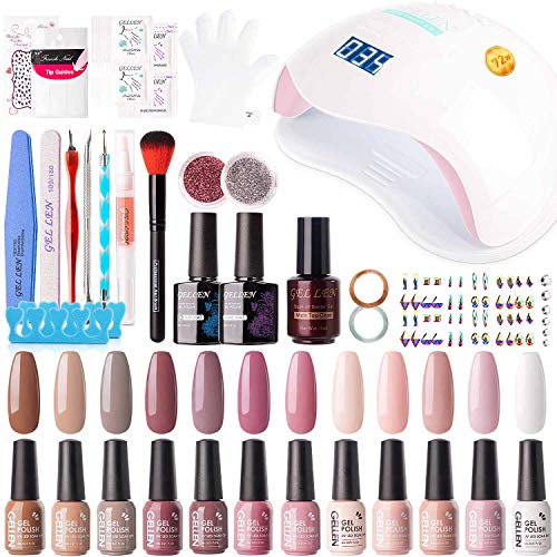Gellen Gel Nail Polish Kit with U V LED Light 72W Nail Dryer, 12 Gel Nail Colors, No Wipe Top Base Coat, Nail Art Decorations, Manicure Tools, All-In-One Manicure Kit, Classic Nudes