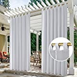 HOMEIDEAS 2 Panels Tab Top Outdoor Curtains for Patio Waterproof, Greyish White Blackout Outdoor Curtains, 52 X 84 Inch Thermal Insulated White Outdoor Patio Curtains for Porch/Pergola/Cabana/Gazebo