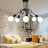 Edison - Lámpara de techo con 5 cabezales de metal hierro, vintage, industrial, lámpara de techo,...