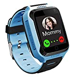 GPS Waterproof Kids Smart Watch for Students, Girls Boys Touch Screen Smartwatch with GPS/LBS Tracker Voice Chat One-Key SOS Help Anti-Lost Calling Phone Watches (S16 Blue)