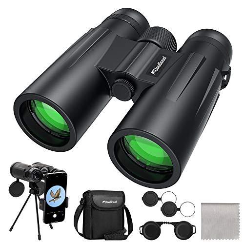 Usogood Binocolo 12 x 50 per adulti - Prismi BaK-4, obiettivo FMC, binocolo compatto per birdwatching, caccia, escursionismo e osservazione delle stelle con adattatore telefonico per treppiede