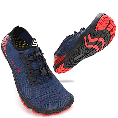 ZHR Mens Water Shoes Quick Dry Aqua Shoes for Swim Beach Surf Navy Red UK10