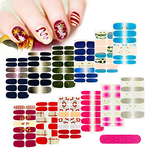 12 Sheets Nail Stickers, Gel Nail Strips Multicolor Nail Art Full Cover Nail Warps Starry Nail Sticker with 1Pcs Nail File, for Women Girls Festive Gifts, Birthday Gifts,or Christmas Art Theme Party