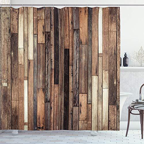 Ambesonne Wooden Shower Curtain, Brown Old Hardwood Floor Plank Grunge...