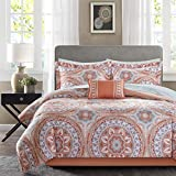 Madison Park MPE10-204 Essentials Serenity Complete Bed and Sheet Set Twin Coral