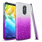 LG Stylo 4 Phone Case,LG Stylo 4 Case,LG Stylo 4 Plus Case,Fordesign with Screen Protector Durable Cute Glitter Case for Girls Women-Purple