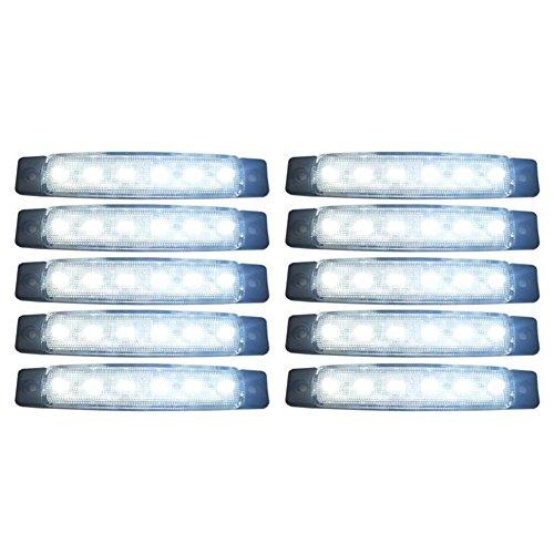 SODIAL(R) 10 Pezzi 24V Coda 6 SMD LED indicatore Laterale Indicatori Lampada Posteriore della Luce Bianca per i Bus/Camion/rimorchi/autocarri MA565