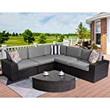 Stamo Outdoor Sectional Furniture 6-Piece Patio Conversation Furniture Set, All-Weather Coffee PE Rattan Wicker Patio Sofa Chair w/Glass Coffee Table, Removable Washable Grey Cushions