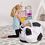 Posh Creations Kids Stuffed Animal Storage Bean Bag Chair Cover - Childrens Toy Organizer, X-Large-48in, Sports Soccer Ball Black and White