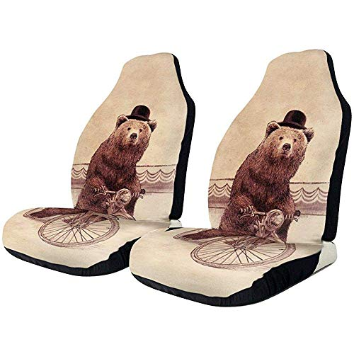 Autositzbezüge Black Bear Ride A Bike Riding Autositzschutzkissen Schalensitzbezug