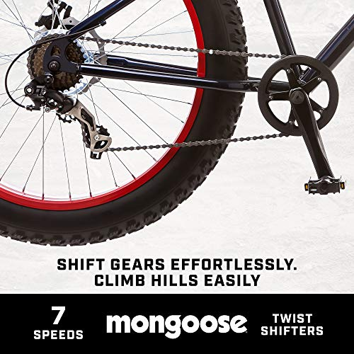 Product Image 3: Mongoose Dolomite Mens Fat Tire Mountain Bike, 26-inch Wheels, 4-Inch Wide Knobby Tires, 7-Speed, Steel Frame, Front and Rear Brakes, Navy Blue