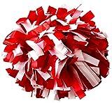 kuugear Pair, Plastic Cheerleading Pom Pom with Baton Handle - Red/White