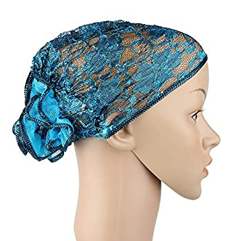 Floral lace turban beanie cap hat which is light weighted and breathable for daily wearing. Ideal for daily headwear, Muslim headscarf, Indian cap, and for chemopatient's head cap to cover hair loss. Material: Lace and Nylon. Circumference: 46cm(with...