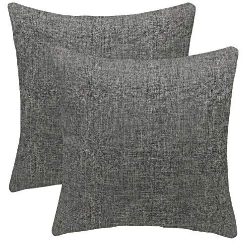 FYJS Confezione da 2 federe in morbido lino artificiale Decorazioni per la casa Fodera per cuscino quadrato per divano camera da letto 45x45cm,Grigio scuro