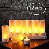 Expower Lot de 12 Bougie LED Rechargeable Bougie Électrique LED Flamme...