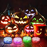 Ruyilam Halloween Pumpkin Lights, 4 Pack 16 Color Changing LED Pumpkin Lights with Timer/Remote, Battery Operated Jack-O'-Lantern Waterproof Halloween Decorations Bucket Lights for Halloween Decor