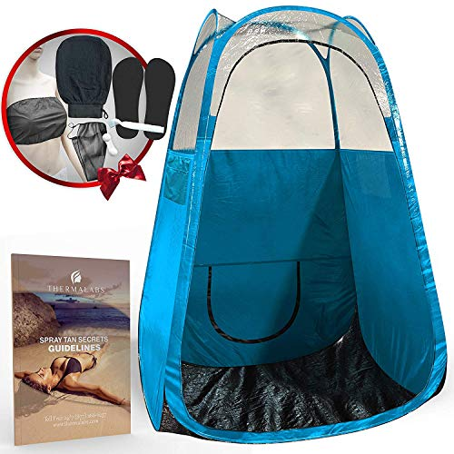 Spray Tan Tent (Blue) The Best, Bigger Than Others, Folds Easily In 30 Seconds and Has NO Logo On Tent Itself! Professional Sunless Tanning Pop-Up Spraying Booth for Airbrush Art, Makeup & Painting