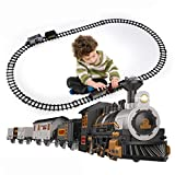 iHaHa Electric Train Set for Kids, Battery-Powered Train Toys with Light & Sounds Include Locomotive Engine, 3 Cars and 10 Tracks, Classic Toy Train Set Gifts for 3 4 5 6 Years Old Boys Girls