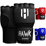 Hawk Padded Inner Gloves Training Gel Hand Wraps for Boxing Quick Wraps Men & Women Kickboxing Muay Thai MMA Bandages Fist Knuckle Wrist Protector Handwraps (Pair) (Black, S/M)